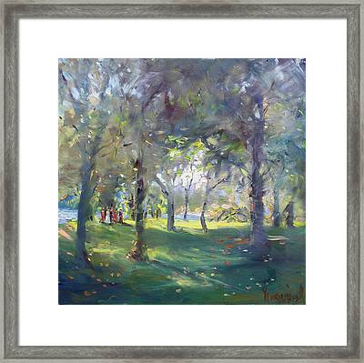 Wedding Celebration In The Park Framed Print by Ylli Haruni