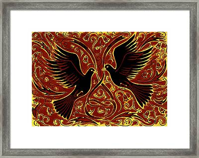 Wedding Doves, 2013 Woodcut Framed Print by Nat Morley