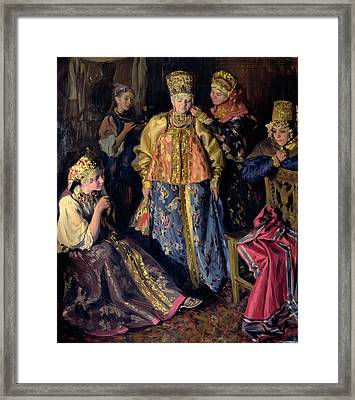 Wedding Dress, 1911 Oil On Canvas Framed Print by Ivan Semyonovich Kulikov