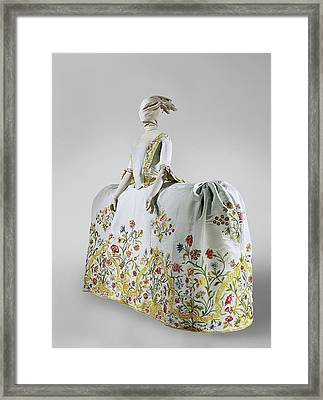 Wedding Gown Of Pale Blue Silk Rep Embroidered Framed Print