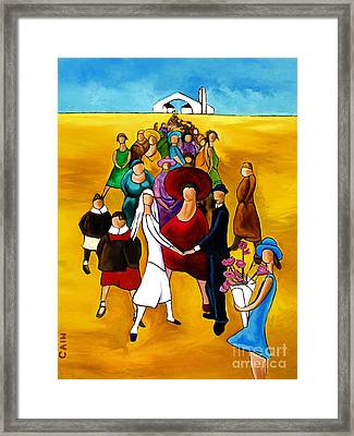 Wedding Holding Hands Framed Print by William Cain