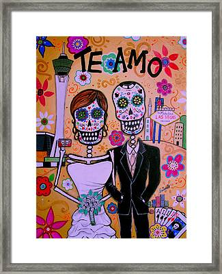 Wedding In Vegas Dia De Los Muertos Framed Print by Pristine Cartera Turkus