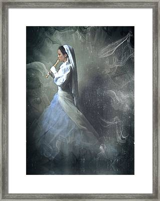Wedding Night Of A Reluctant Bride - Vintage Style Framed Print by Georgiana Romanovna