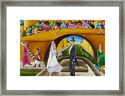 Wedding On Barge Framed Print by William Cain