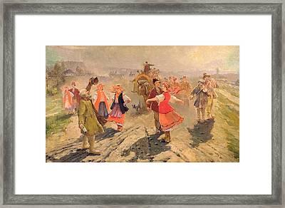 Wedding Procession In The Orel Region Oil On Canvas Framed Print