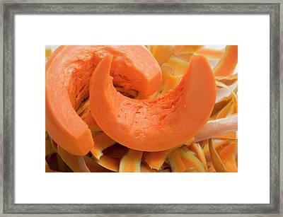 Wedges Of Pumpkin On Pumpkin Peelings Framed Print