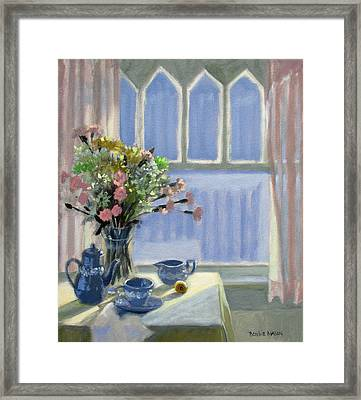 Wedgewood Blues - Flowers By The Window Framed Print