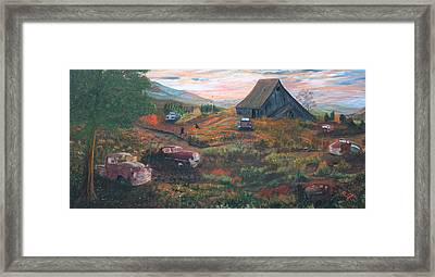 Framed Print featuring the painting Weeds And Rust by Myrna Walsh