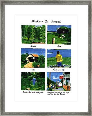 Weekend In Vermont Framed Print by Huguette Marte