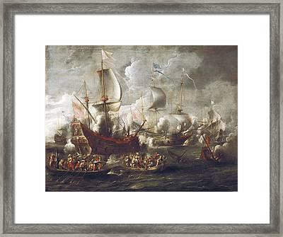 Weelcornelis De 17th C.. Naval Battle Framed Print