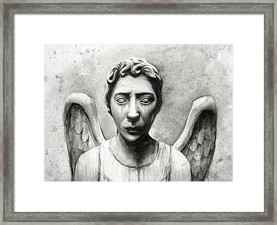 Weeping Angel Don't Blink Doctor Who Fan Art Framed Print by Olga Shvartsur