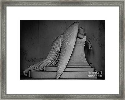 Weeping Angel Statue  Bw 1 Framed Print by Jerry Fornarotto
