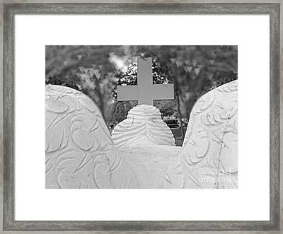 Weeping Angel  Worship At The Cross Framed Print by Ella Kaye Dickey