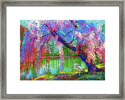 Weeping Beauty, Cherry Blossom Tree And Heron Framed Print by Jane Small