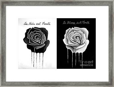 Weeping Black And White Roses Framed Print by Darrell Ross