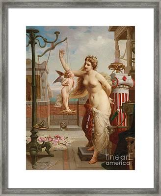 Weighing Cupid Framed Print by Henri Pierre Picou
