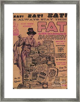 Weight Loss Ad Sanitized Tapeworms Framed Print