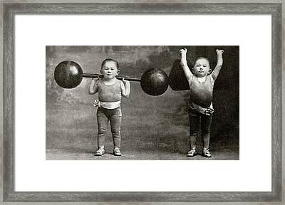 Weightlifting Dwarfism Exhibits Framed Print by American Philosophical Society