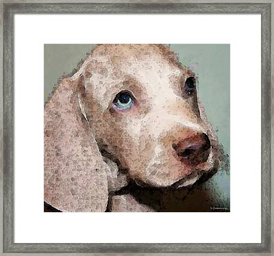 Weimaraner Dog Art - Forgive Me Framed Print by Sharon Cummings