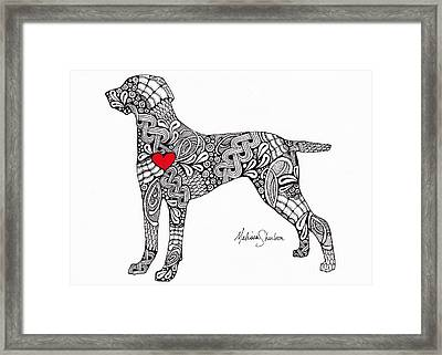 Framed Print featuring the drawing Weimaraner by Melissa Sherbon