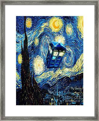 Weird Flying Phone Booth Starry The Night Framed Print by Three Second