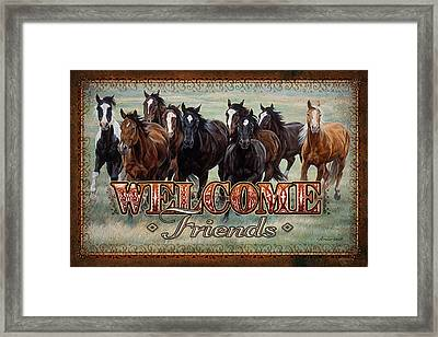 Welcome Friends Horses Framed Print