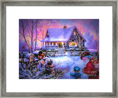 Welcome Santa - Retro Vintage Inspired Christmas Scene Framed Print by Lianne Schneider