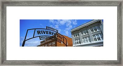 Welcome Sign At A Park, Riverfront Framed Print