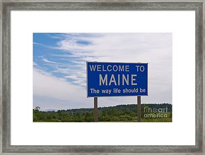 Welcome Sign For Maine Framed Print by Bill Bachmann