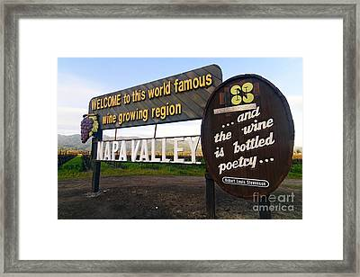Welcome Sign To Napa Valley Framed Print by George Oze