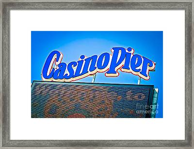 Welcome To Casino Pier Framed Print