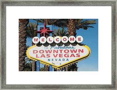 Welcome To Downtown Las Vegas Sign, Las Framed Print
