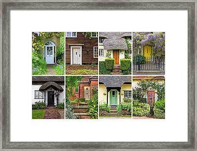 Welcome To England - 8 Cottage Doors Framed Print by Gill Billington