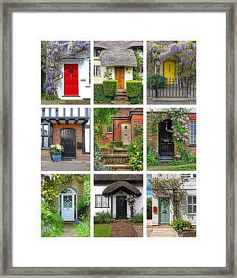 Welcome To England - Cottage Doors Framed Print by Gill Billington