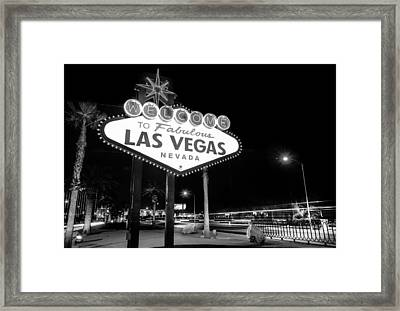 Welcome To Fabulous Las Vegas - Neon Sign In Black And White Framed Print