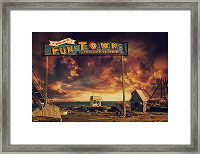 Welcome To Fun Town Framed Print by Kim Zier