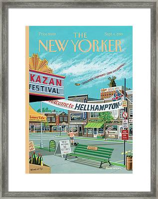 Welcome To Hellhampton Framed Print by Bruce McCall