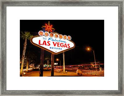 Welcome To Las Vegas - Neon Sign Framed Print