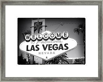 Welcome To Las Vegas Noir Framed Print by John Rizzuto