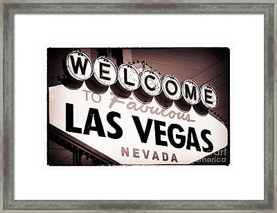 Welcome To Las Vegas Red Tone Framed Print by John Rizzuto