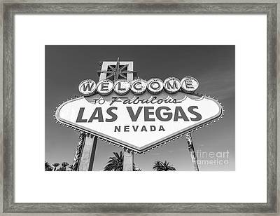 Welcome To Las Vegas Sign Black And White Framed Print
