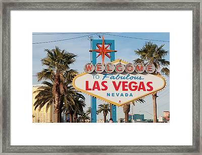 Welcome To Las Vegas Sign, Las Vegas Framed Print by Michael Defreitas