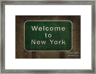 Welcome To New York Highway Road Side Sign Framed Print