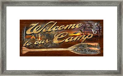 Welcome To Our Camp Sign Framed Print by Jim Hansel