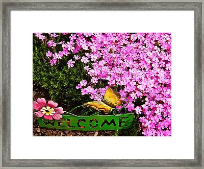Welcome To Our Gardens Framed Print by Randy Rosenberger