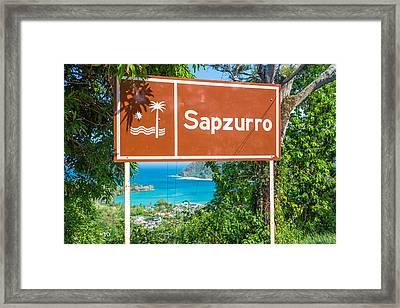Welcome To Sapzurro Sign Framed Print by Jess Kraft