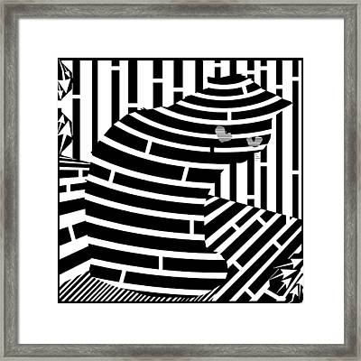 Welcome To The Cat Side Maze Framed Print by Yonatan Frimer Maze Artist