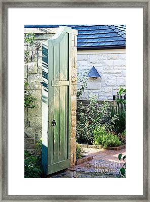Welcome To The Garden Framed Print by Andee Design