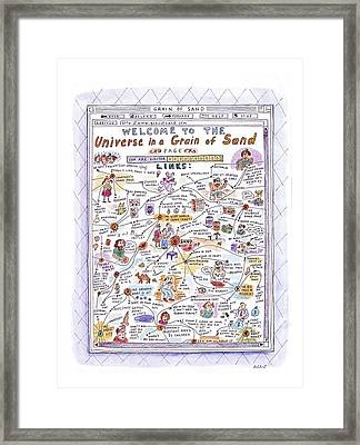 'welcome To The Universe In A Grain Of Sand' Framed Print by Roz Chast
