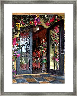 Welcoming Open Door Framed Print by Linda Phelps